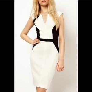 Black and white colour block cocktail dress v neck bodycon dress